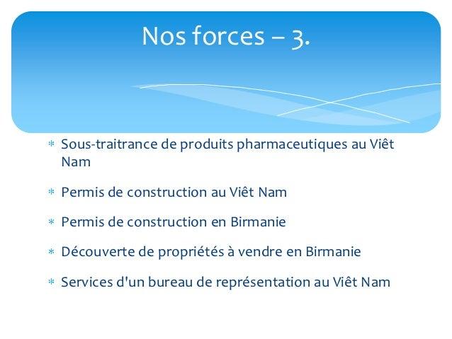 Nos forces – 3.Sous-traitrance de produits pharmaceutiques au ViêtNamPermis de construction au Viêt NamPermis de construct...
