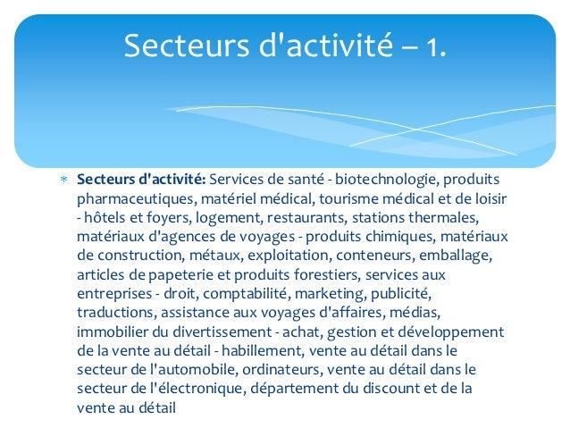 Secteurs dactivité – 1.Secteurs dactivité: Services de santé - biotechnologie, produitspharmaceutiques, matériel médical, ...