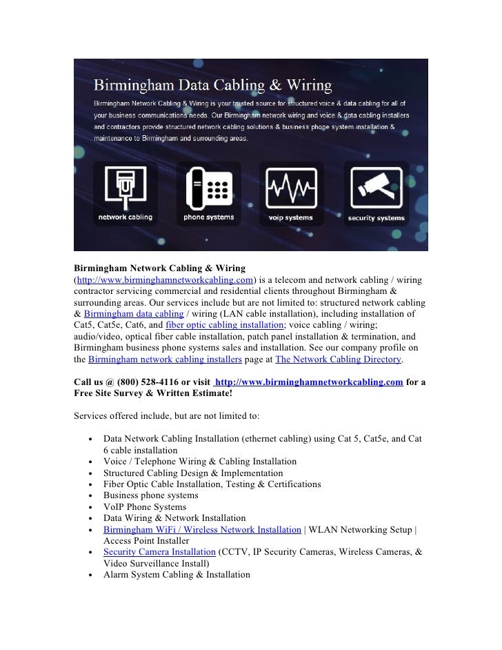 Birmingham Network Cabling & Wiring (http://www.birminghamnetworkcabling.com) is a telecom and network cabling / wiring co...