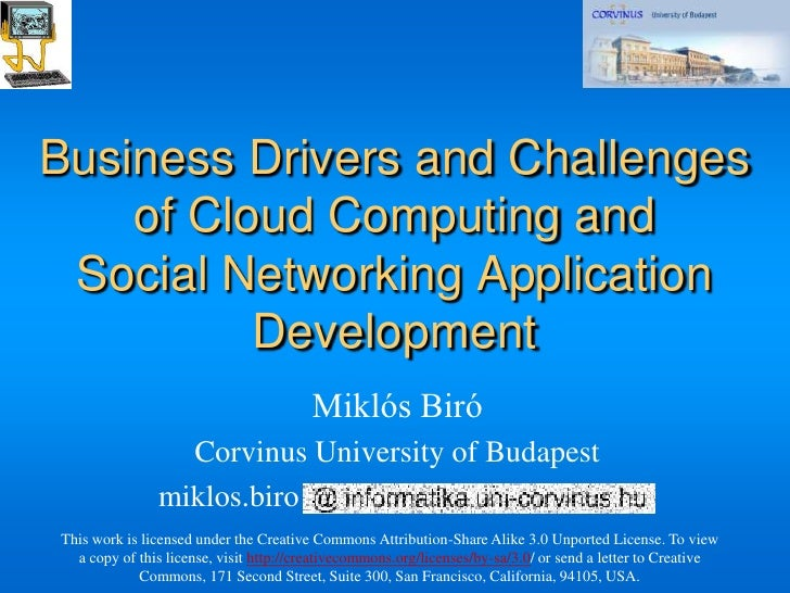 Business Drivers and Challenges     of Cloud Computing and  Social Networking Application           Development           ...