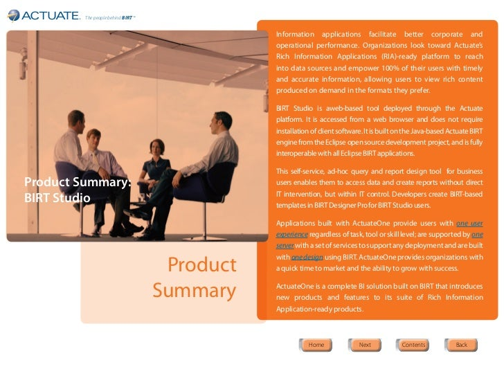 The people behind BIRT ™                                               Information applications facilitate better corporat...