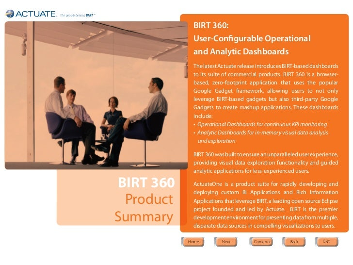 The people behind BIRT ™                                        BIRT 360:                                        User-Conf...