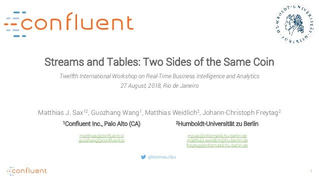 1 Streams and Tables: Two Sides of the Same Coin Matthias J. Sax12, Guozhang Wang1, Matthias Weidlich2, Johann-Christoph F...