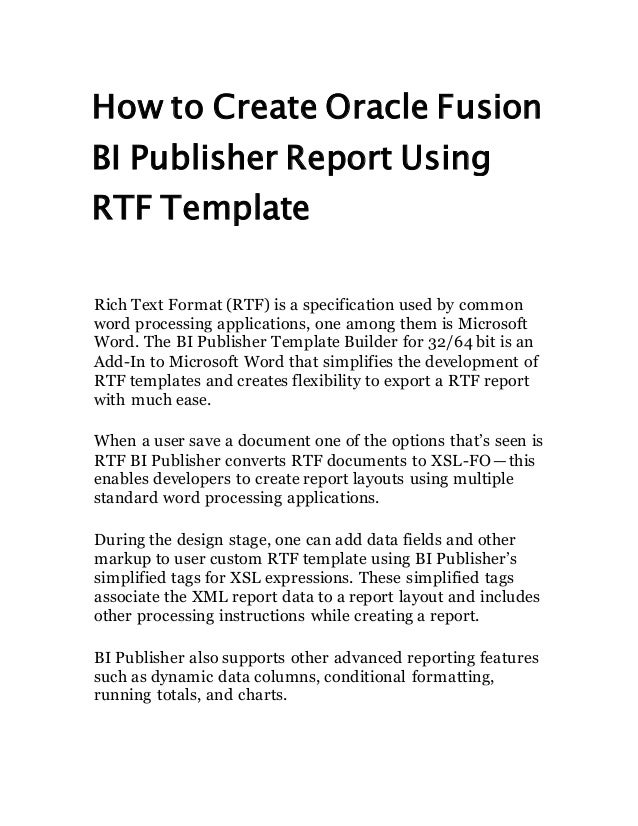 How to Create Oracle Fusion BI Publisher Report Using RTF