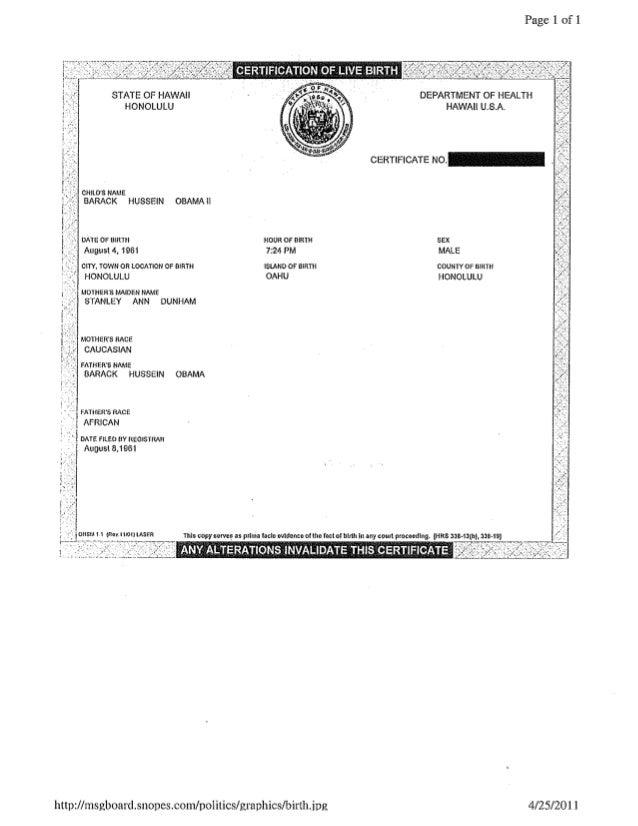 Barack Hussein Obama, II, Birth Certificate