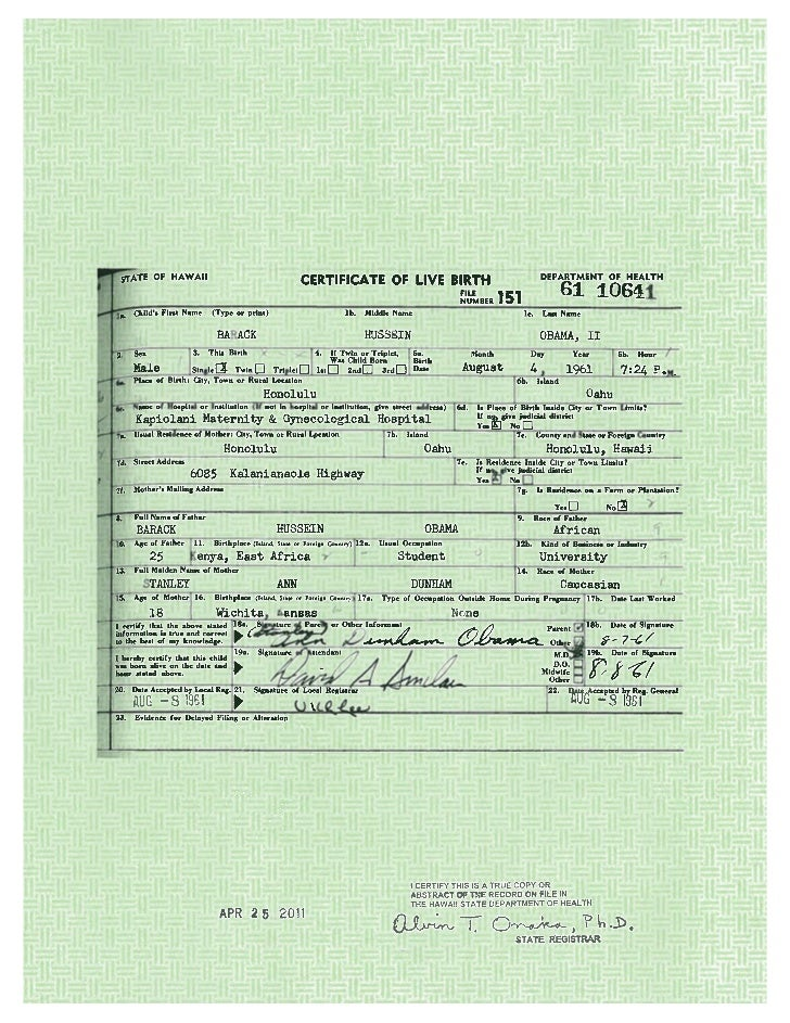 President Obama\'s Long Form Birth Certificate