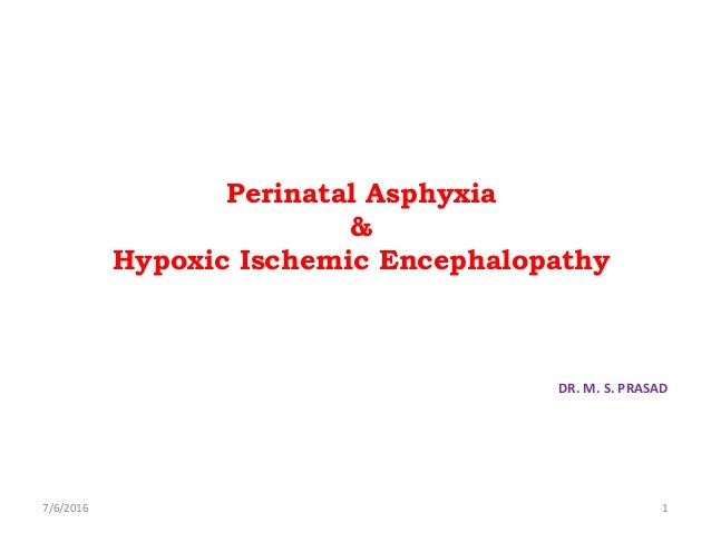 Perinatal Asphyxia & Hypoxic Ischemic Encephalopathy DR. M. S. PRASAD 7/6/2016 1