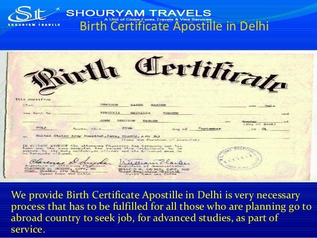 Birth certificate apostille in delhi