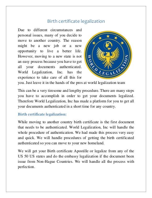 Birth Certificate Legalization