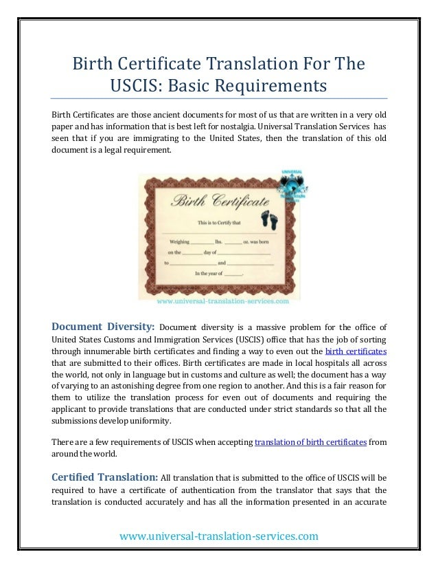Birth Certificate Translation For The Uscis Basic Requirements