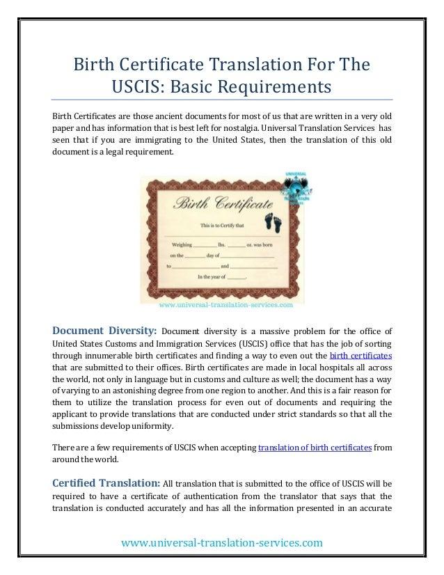 Birth Certificate Translation Usa