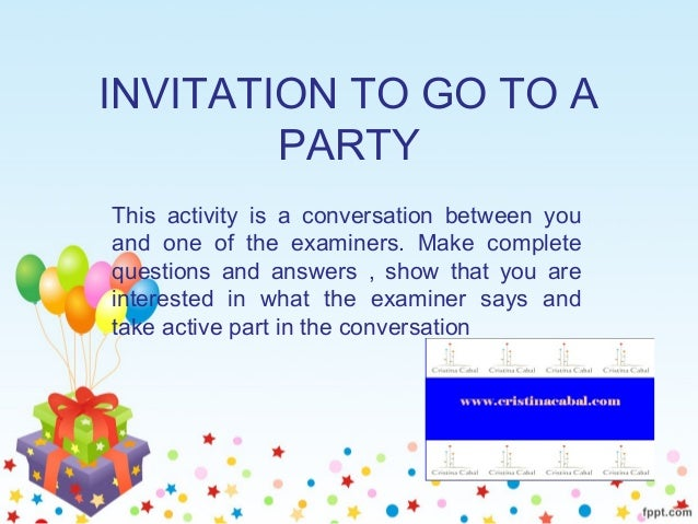 Role play invitation to go to a party invitation to go to a party this activity is a conversation between you and one of stopboris Choice Image