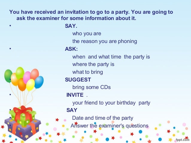 ROLE PLAY INVITATION TO GO TO A PARTY – Invite to Party