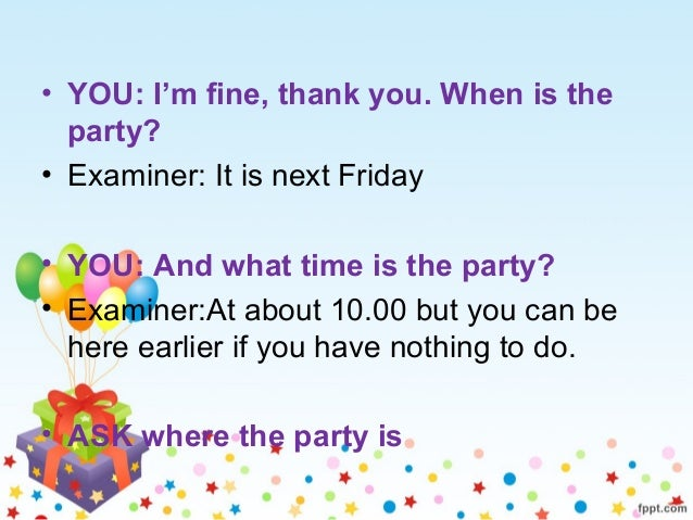 ROLE PLAY INVITATION TO GO TO A PARTY