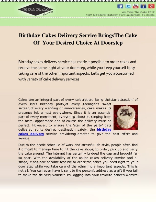 Birthday Cakes Delivery Service BringsThe Cake Of Your Desired Choice At DoorstepBirthday Has