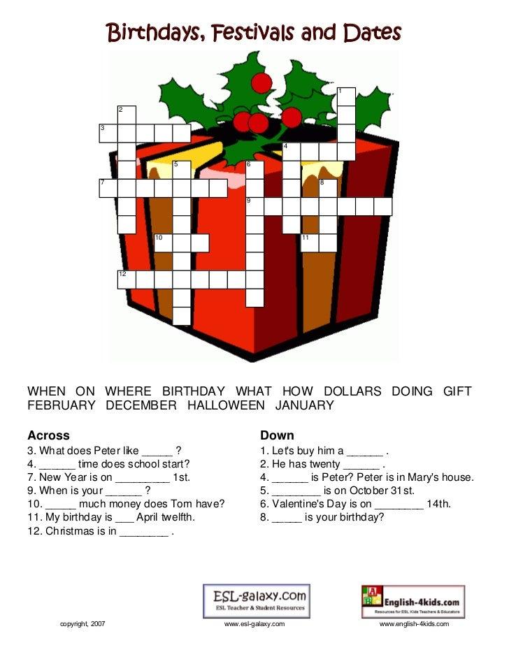 Birthdays, Festivals and Dates                                                                     1                      ...