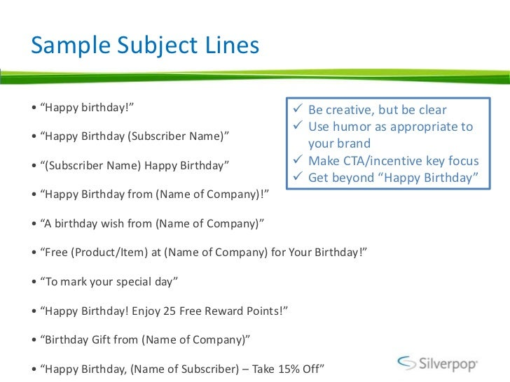 Birthday Email Programs Examples – Sample Happy Birthday Email