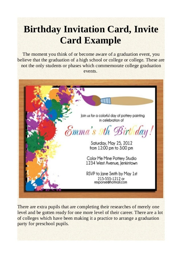 Birthday invitation card invite card example