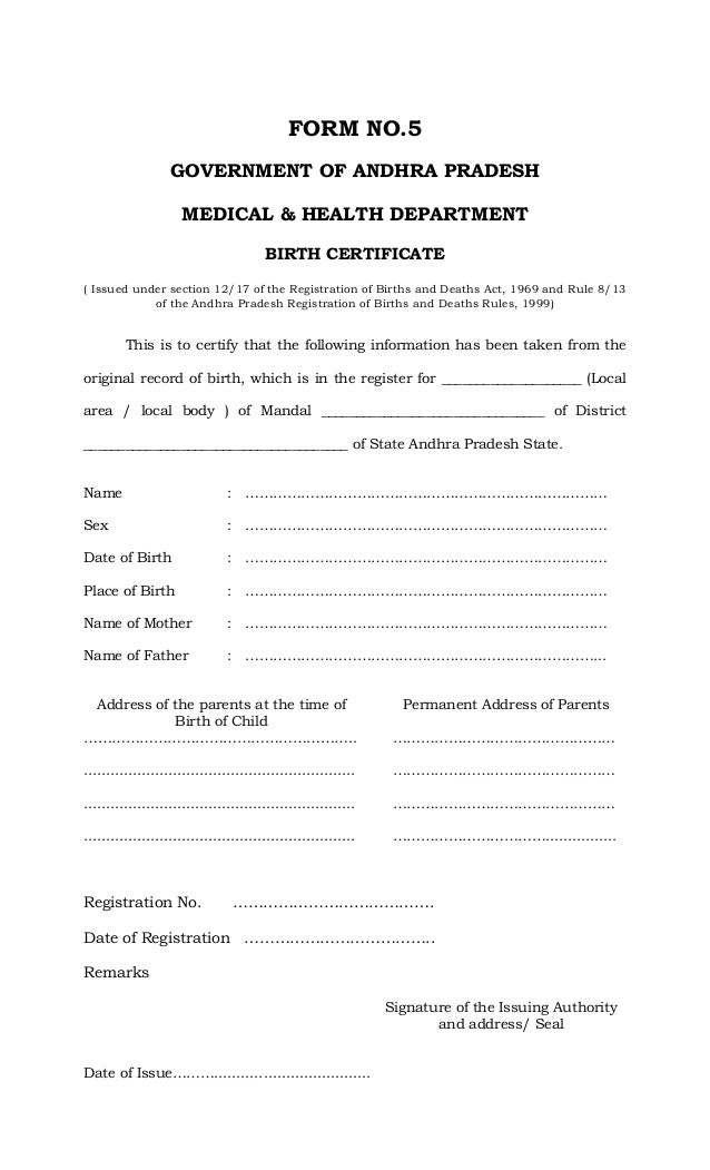 Application To Get Birth Certificate
