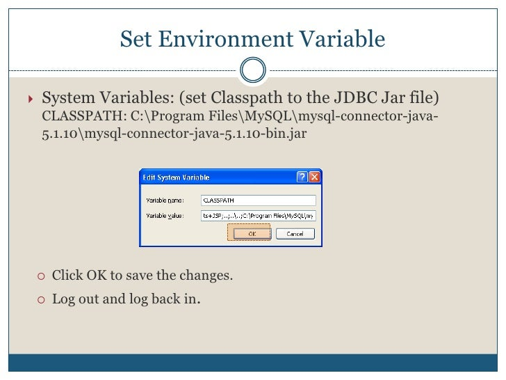 In the System Properties Window, select Advanced Tab   Environment Variables…. Click OK when done.<br />Setup Environment ...