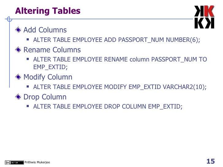 Altering Tables <ul><li>Add Columns </li></ul><ul><ul><li>ALTER TABLE EMPLOYEE ADD PASSPORT_NUM NUMBER(6);  </li></ul></ul...