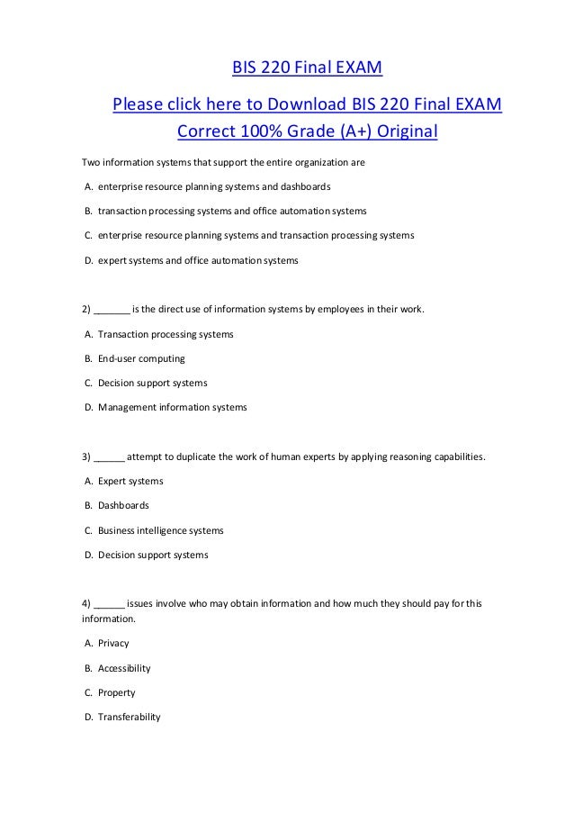 BIS 220 Final EXAM       Please click here to Download BIS 220 Final EXAM               Correct 100% Grade (A+) OriginalTw...