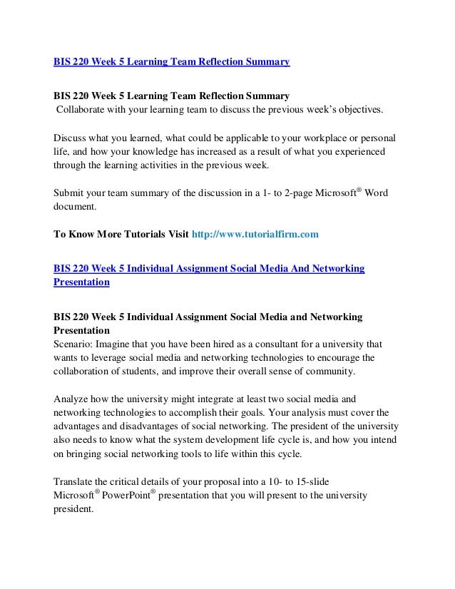 bis 220 reflection summary Bis 220 week 5 individual assignment social media and networking presentation  bis 220 week 5 lt reflection summary 8 bis 220 week 5 individual assignment social media and networking presentation 9.
