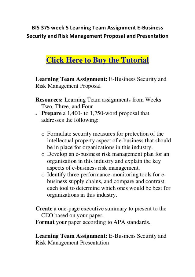 bis 375 entire course Bis 320 week 5 it strategic project plan and presentation scenario : you are researching a business development idea for your company you have been preparing components of the project plan throughout this course.