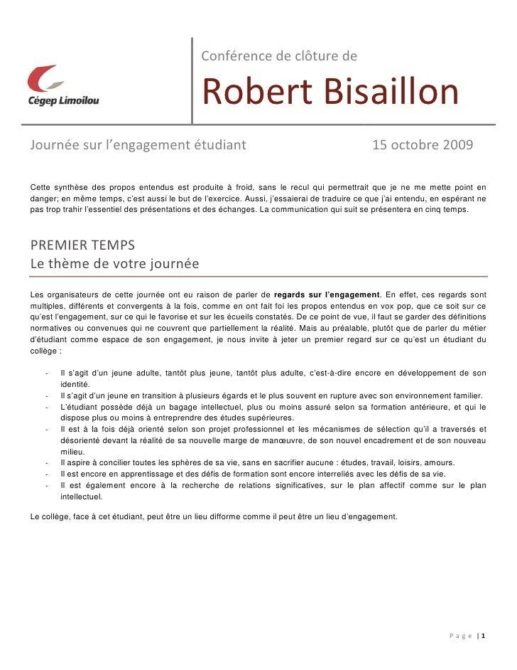 Conférence de clôture de                                                 Robert Bisaillon Journée sur l'engagement étudian...