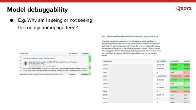 Model debuggability ● E.g. Why am I seeing or not seeing this on my homepage feed?