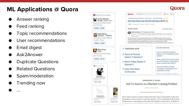 ML Applications @ Quora ● Answer ranking ● Feed ranking ● Topic recommendations ● User recommendations ● Email digest ● As...