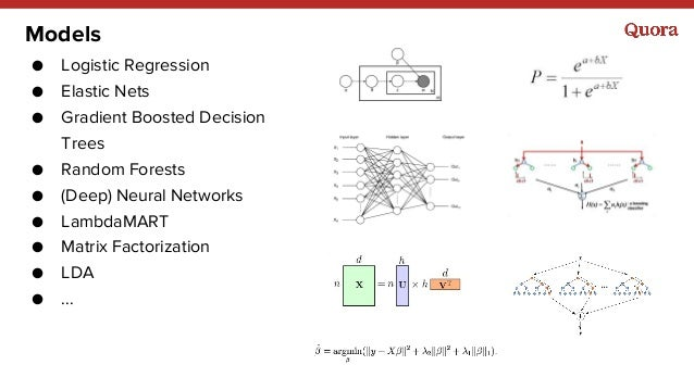 Models ● Logistic Regression ● Elastic Nets ● Gradient Boosted Decision Trees ● Random Forests ● (Deep) Neural Networks ● ...