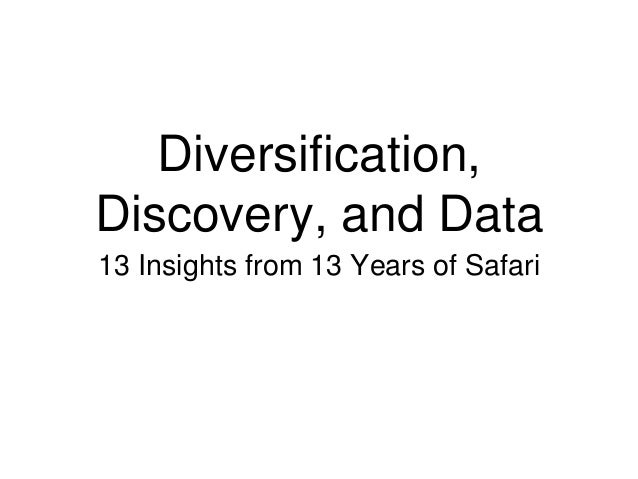 Diversification, Discovery, and Data 13 Insights from 13 Years of Safari