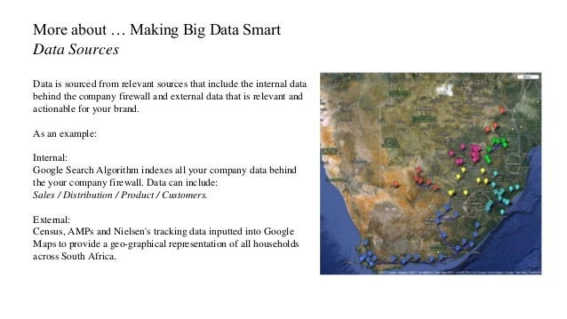 More about … Making Big Data Smart Data Sources Data is sourced from relevant sources that include the internal data behin...
