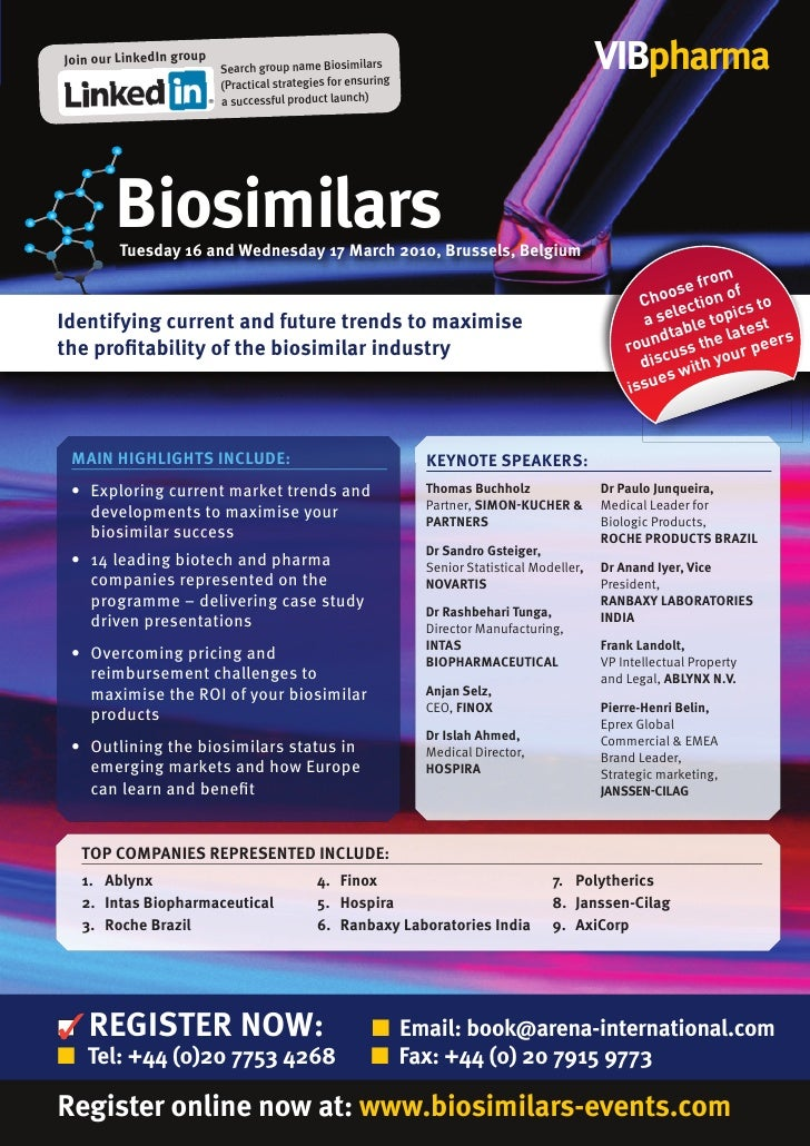 Join our LinkedIn group                           Search group name Biosimilars                                       VIBp...