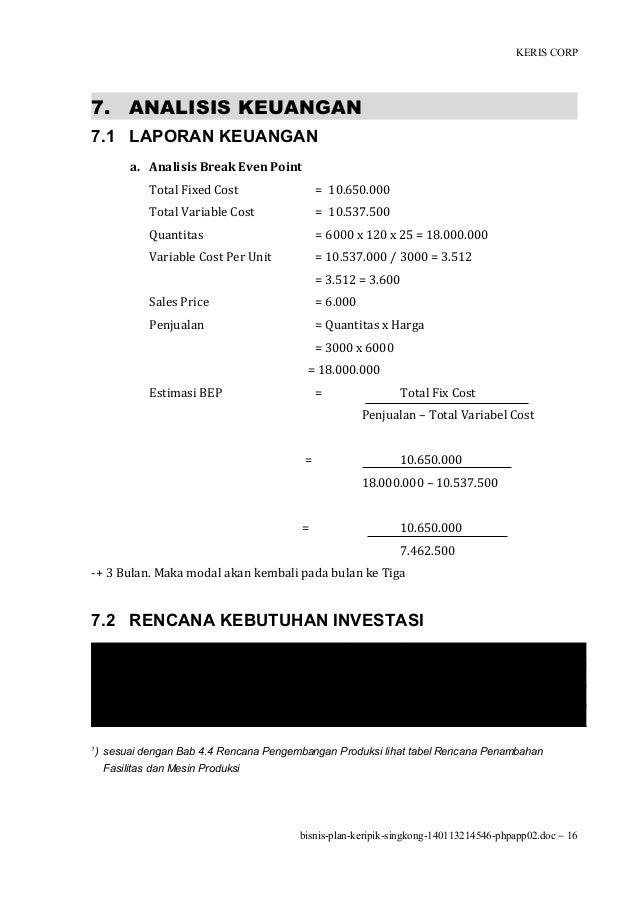 makalah business plan keripik singkong
