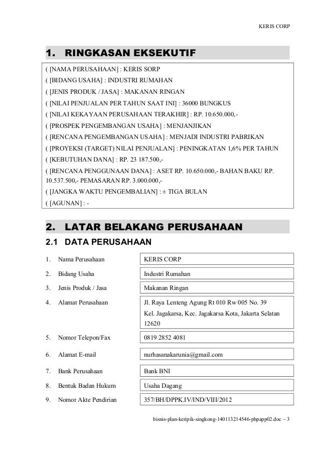 business plan keripik kentang