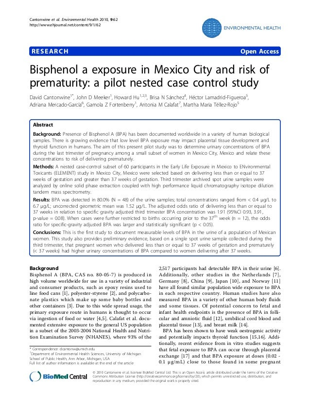 Cantonwine et al. Environmental Health 2010, 9:62 http://www.ehjournal.net/content/9/1/62  RESEARCH  Open Access  Bispheno...