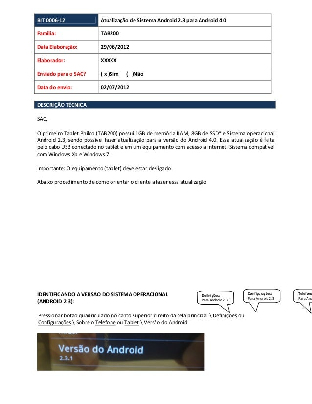 BIT 0006-12 Atualização de Sistema Android 2.3 para Android 4.0Família: TAB200Data Elaboração: 29/06/2012Elaborador: XXXXX...