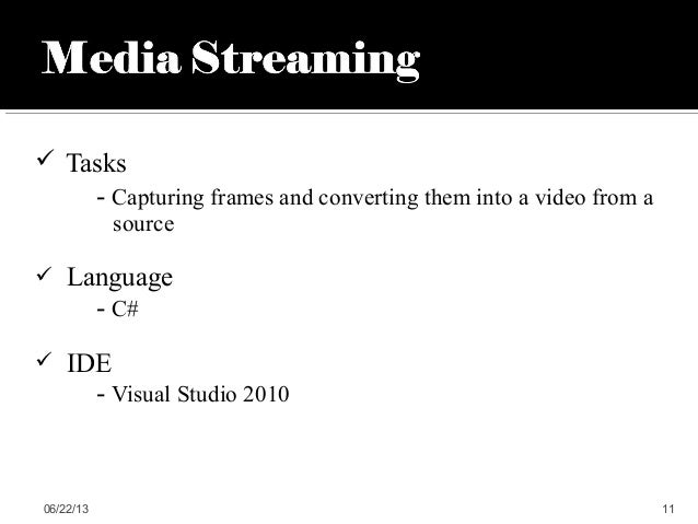  Tasks- Capturing frames and converting them into a video from asource Language- C# IDE- Visual Studio 201006/22/13 11