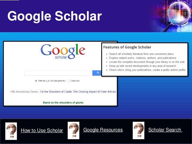 Google Scholar  How to Use Scholar  Google Resources  Scholar Search