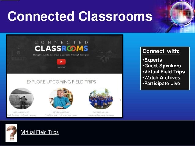Connected Classrooms  Virtual Field Trips  Connect with:  •Experts  •Guest Speakers  •Virtual Field Trips  •Watch Archives...