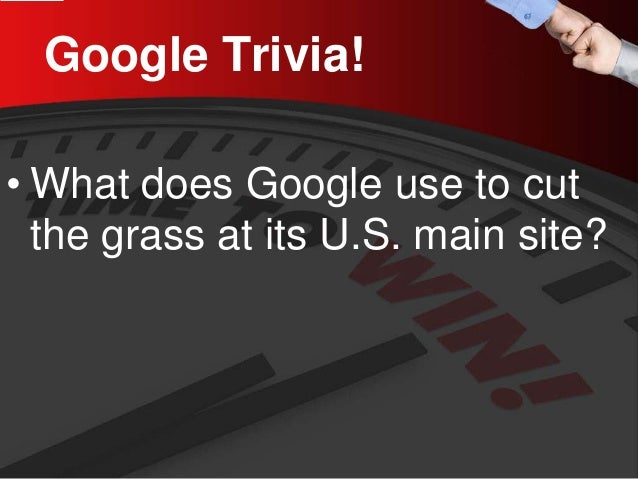 Google Trivia!  •  What does Google use to cut the grass at its U.S. main site?