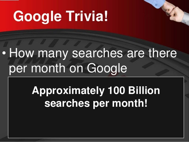 Google Trivia!  •  How many searches are there per month on Google  Approximately 100 Billion searches per month!