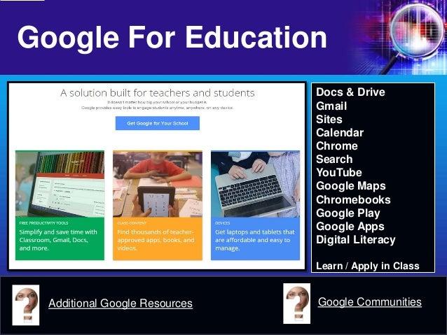 Google For Education  Docs & Drive  Gmail  Sites  Calendar  Chrome  Search  YouTube  Google Maps  Chromebooks  Google Play...