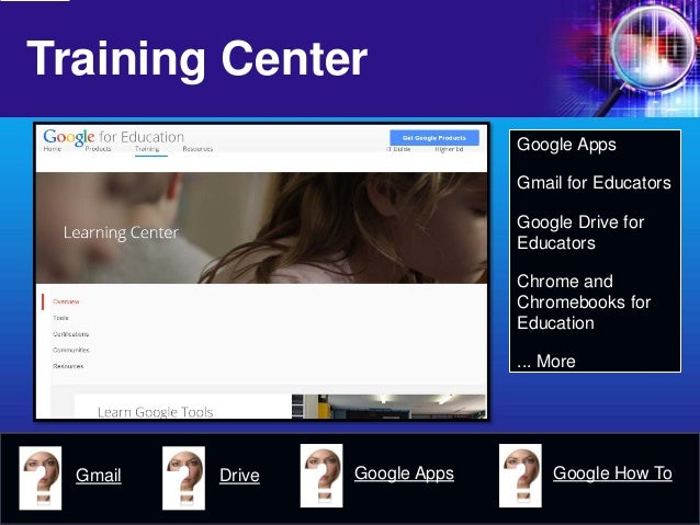 Training Center  Google Apps  Gmail for Educators  Google Drive for Educators  Chrome and Chromebooks for Education  ... M...
