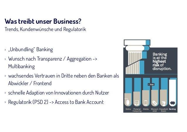"""Was treibt unser Business? Trends, Kundenwünsche und Regulatorik › """"Unbundling"""" Banking › Wunsch nach Transparenz / Aggreg..."""
