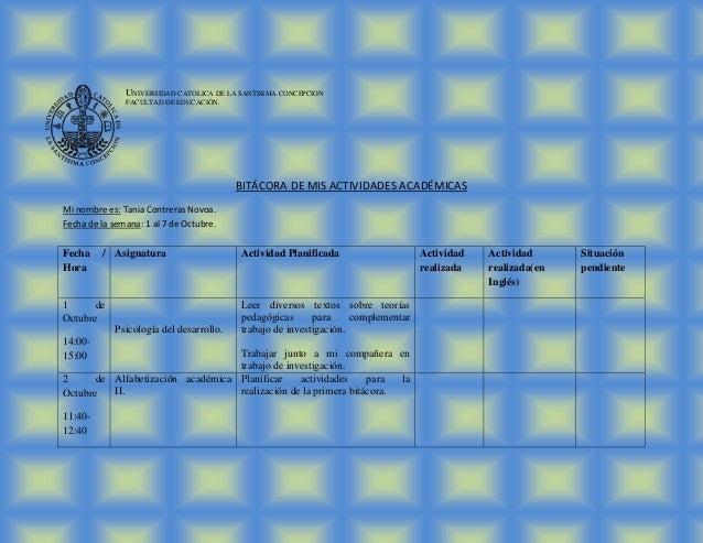 UNIVERSIDAD CATOLICA DE LA SANTISIMA CONCEPCION               FACULTAD DE EDUCACIÒN.                                      ...