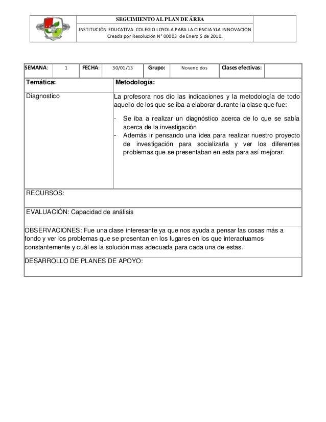 SEGUIMIENTO AL PLAN DE ÁREA                  INSTITUCIÓN EDUCATIVA COLEGIO LOYOLA PARA LA CIENCIA YLA INNOVACIÓN          ...