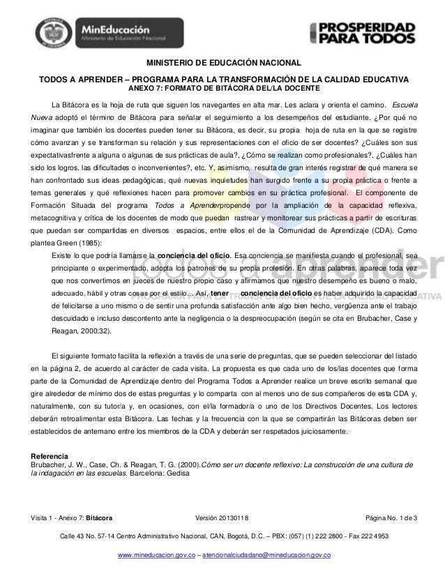 MINISTERIO DE EDUCACIÓN NACIONALTODOS A APRENDER – PROGRAMA PARA LA TRANSFORMACIÓN DE LA CALIDAD EDUCATIVAVisita 1 - Anexo...